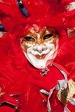Mascherina di colore rosso del burlone Fotografia Stock
