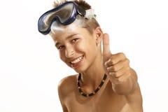 Mascherina di immersione subacquea del ragazzo Immagine Stock Libera da Diritti