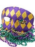 Mascherina di Mardi Gras con i branelli Fotografie Stock Libere da Diritti