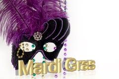 Mascherina di Mardi Gras con testo Fotografia Stock Libera da Diritti