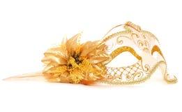 Mascherina di travestimento dell'oro Fotografia Stock
