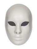 Mascherina drammatica bianca del teatro isolata su bianco Immagine Stock