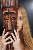 Mascherina e donna Fotografia Stock