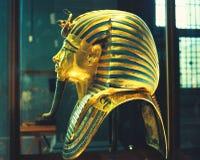 Mascherina egiziana dell'oro del museo Fotografie Stock Libere da Diritti