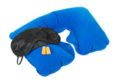 Mascherina gonfiabile del cuscino, di sonno del collo ed earplugs Immagine Stock
