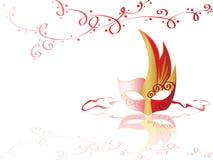 Mascherina nei colori dell'oro e di colore rosso Fotografia Stock