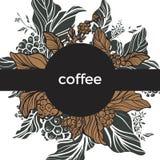 mascherina Ramo del caffè con le foglie ed i chicchi di caffè Retro stile Vettore Fotografie Stock Libere da Diritti