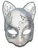 Mascherina veneziana di carnevale d'argento del gatto Immagine Stock Libera da Diritti