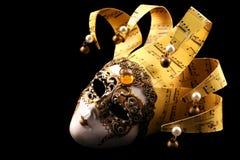 Mascherina veneziana dorata Immagine Stock Libera da Diritti