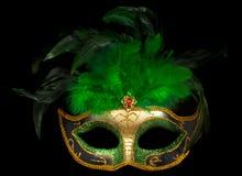 Mascherina veneziana verde sul nero Fotografia Stock