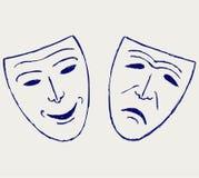 mascherine del teatro di Commedia-tragedia illustrazione vettoriale