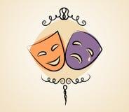 Mascherine del teatro di tragedia e di commedia Fotografia Stock
