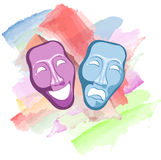 mascherine di commedia e di tragedia del teatro Fotografie Stock Libere da Diritti