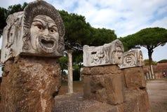 Mascherine greche del teatro, Roma, Italia fotografie stock libere da diritti