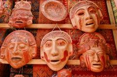 Mascherine Mayan dell'argilla Fotografia Stock Libera da Diritti