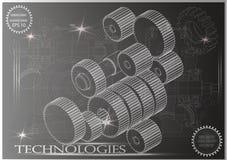 Maschine-bildende Zeichnungen auf einem schwarzen Hintergrund, Räder Stockfoto