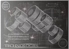 Maschine-bildende Zeichnungen auf einem schwarzen Hintergrund, Räder Stockbilder