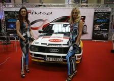 Maschine, die Audi angezeigt an der 3. Ausgabe von MOTO-ZEIGUNG in Krakau abstimmt stockfotografie