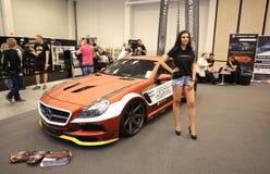 Maschine, die Mercedes angezeigt an der 3. Ausgabe von MOTO-ZEIGUNG in Krakau abstimmt Lizenzfreie Stockfotografie