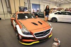 Maschine, die Mercedes angezeigt an der 3. Ausgabe von MOTO-ZEIGUNG in Krakau abstimmt Lizenzfreie Stockfotos