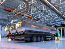 Maschine im Hangar Stockfotografie