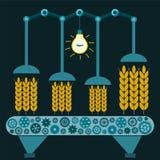 Maschine mit den Ohren des Weizens in einem Koffer in einer Dunkelkammer lizenzfreie abbildung