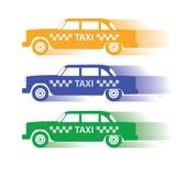 Maschine mit drei Schattenbildern für Taxi Stockfotos
