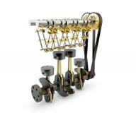 Maschine mit Kolben, Ventilen, Kurbelwelle und Nockenwelle Stockfoto