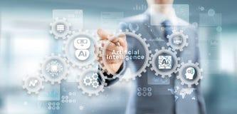 Maschinen-tiefe Lernenmechanisierung künstliche Intelligenz AI und Automatisierungskonzept auf virtuellem Schirm stockfotos