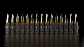 Maschinengewehrkugelgurt, schwarzer Hintergrund, stock abbildung