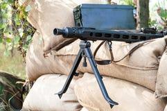 Maschinengewehrmunition und -teile Stockbilder