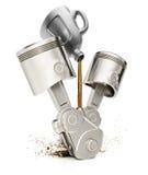 Maschinenkolben und -Motorenöl Stockfotos