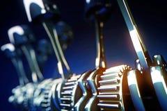 Maschinenkolben und Zahnräder mit Schärfentiefe Effekt Stockfoto