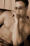 Maschio bello in vetri Fotografia Stock Libera da Diritti