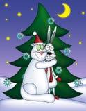 Maschio bianco in un abbraccio con il coniglio bianco illustrazione di stock