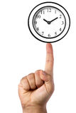 Maschio classico della mano del dito dell'orologio di parete isolato Fotografie Stock Libere da Diritti