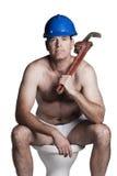 Maschio con il torso, il casco del bue e la chiave nudi Fotografia Stock