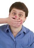Maschio del ritratto con la bocca coperta Fotografia Stock Libera da Diritti