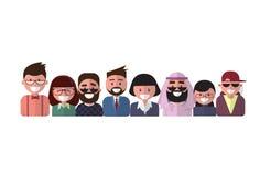 Maschio dell'icona di profilo e avatar femminile, ritratto del fumetto dell'uomo della donna, corsa Person Silhouette Face della  Fotografie Stock Libere da Diritti