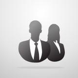 Maschio dell'icona di profilo e siluetta femminile di affari Fotografie Stock Libere da Diritti
