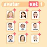 Maschio dell'icona di profilo ed insieme femminile dell'avatar, ritratto del fumetto della donna dell'uomo, Person Face Collectio Fotografie Stock Libere da Diritti