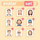 Maschio dell'icona di profilo ed insieme femminile dell'avatar, ritratto del fumetto della donna dell'uomo, Person Face Collectio Immagine Stock Libera da Diritti