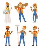 Maschio e lavoratrici in uniforme Ingegneri e costruttori sul lavoro Isolato messo caratteri di vettore illustrazione vettoriale