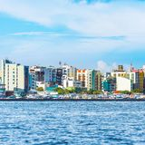 MASCHIO, MALDIVE - 18 NOVEMBRE 2016: Vista della città del maschio - immagini stock