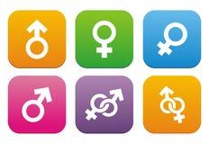 Maschio, simbolo femminile - icone piane di stile Fotografie Stock Libere da Diritti