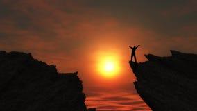 Maschio sopra una montagna Immagini Stock Libere da Diritti