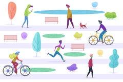Maschio stilizzato e la gente femminile che camminano con gli animali domestici, ciclando, correndo, ascoltando il misic, godendo royalty illustrazione gratis