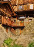 Mascognaz, Aosta Valley. Typical architecture Stock Photos
