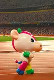 Mascot. Fu Niu Lele, modelled after a lovely young cow, the Official Mascot of the Beijing 2008 Paralympic Games, on the track of national stadium Stock Photos