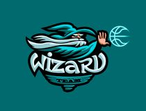 The mascot of the basketball team. A wizard in a hat throws a basketball. vector illustration